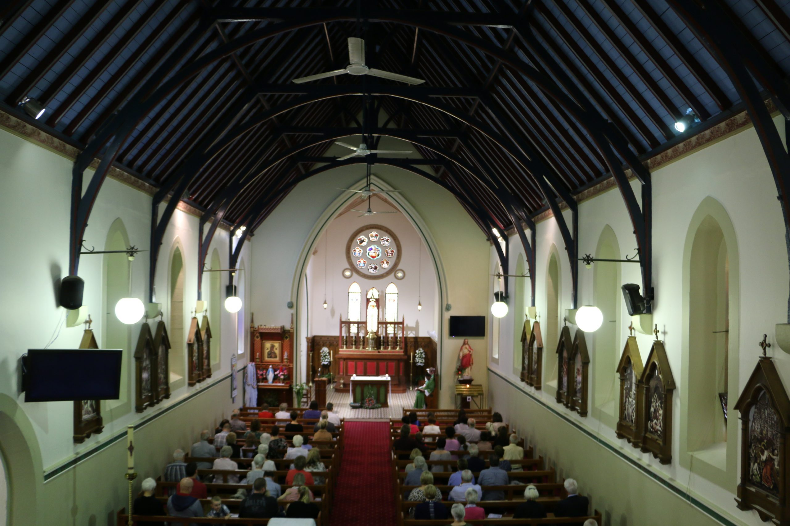 Inside St Patrick's Church Singleton from the choir loft