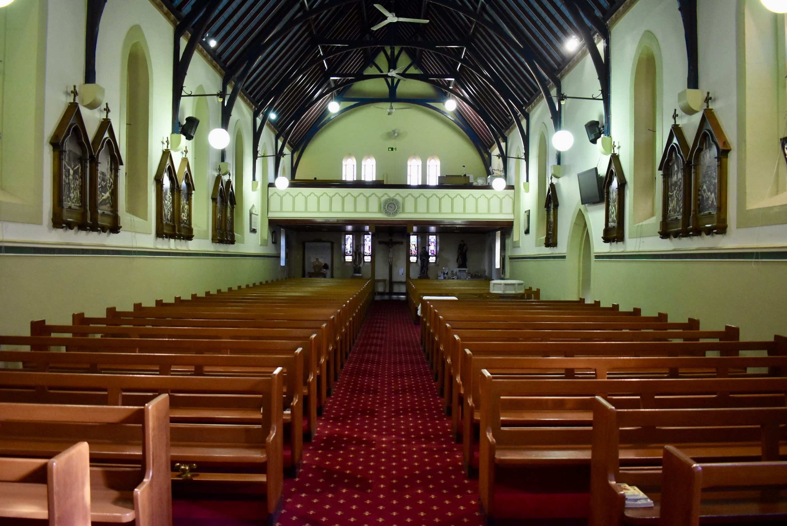Inside St Patrick's Church Singleton from the front